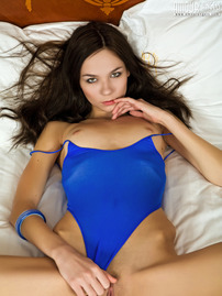 Small Titted Teenie Strips Off Her Blue Bodysuit