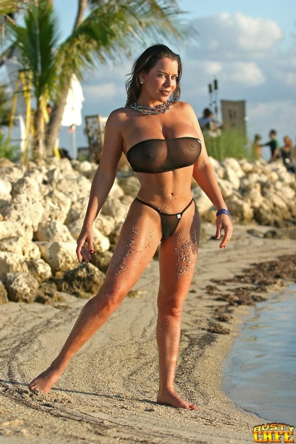 Busty Babe Alicia Dimarco In Black Bikini 15 / 15 Picture