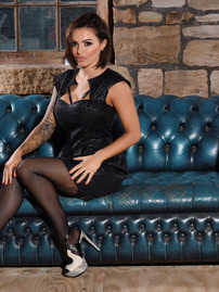 Gemma Massey In Her Tight Black Dress And Hot Lingerie