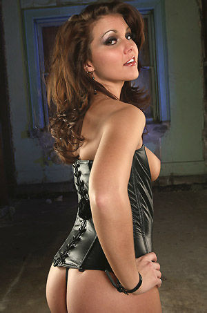 Stephy In Sexy Black Leather Corset