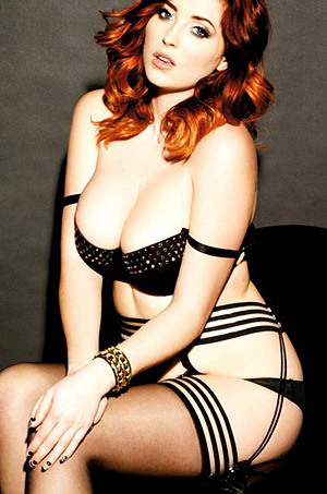Lucy Collett Displays Her Huge Round Breasts
