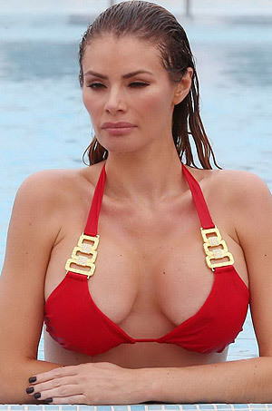 Chloe Sims In A Tiny Red Bikini At The Pool