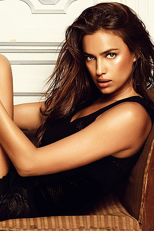 Irina Shayk Posing In Sheer Bra And Tiny Oufit