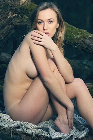 Aislin Models Naked In The Woods